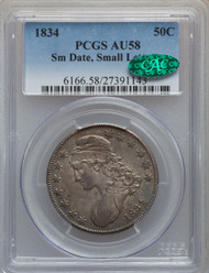 1834 50c Capped Bust Half Dollar PCGS AU58 CAC Small Date Small Letters