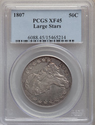 1807 50c Capped Bust Half Dollar PCGS XF45 Large Stars