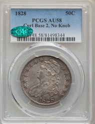 1828 50c Capped Bust Half Dollar PCGS AU58 CAC Curl Base 2, No Know