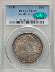 1832 50c Capped Bust Half Dollar PCGS AU58 CAC Small Letters