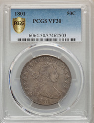 1801 50c Flowing Hair Half Dollar PCGS VF30