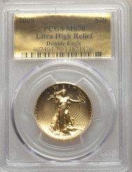 2009 $20 Ultra High Relief Double Eagle PCGS MS70 Gold Foil Label