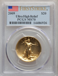 2009 $20 Ultra High Relief Double Eagle PCGS MS70 First Strike