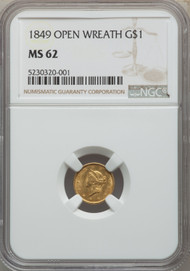 1849 G$1 Gold Liberty Head NGC MS62 Open Wreath