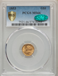 1853 G$1 Gold Liberty Head PCGS MS66 CAC