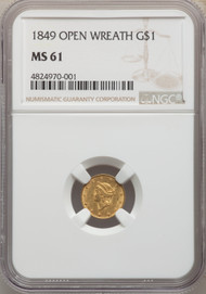 1849 G$1 Gold Liberty Head NGC MS61 Open Wreath