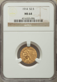 1914 $2.5 Gold Indian NGC MS64