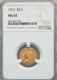 1912 $2.5 Gold Indian NGC MS65