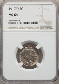 1917-D 5c Buffalo Nickel NGC MS64