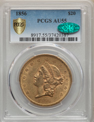 1856 $20 Gold Liberty PCGS AU55 CAC