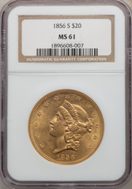 1856-S $20 Gold Liberty NGC MS61