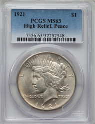 1921 S$1 Peace Dollar PCGS MS63 High Relief, Peace