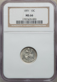 1891 10c Seated Liberty Dime NGC MS66