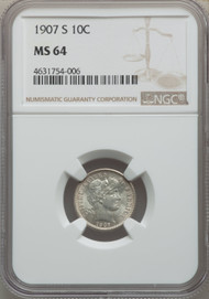 1907-S 10c Barber Dime NGC MS64