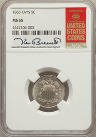 1866 5c Shield Nickel NGC MS65 Rays - 731002065