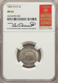 1866 5c Shield Nickel NGC MS65 Rays - 731011029