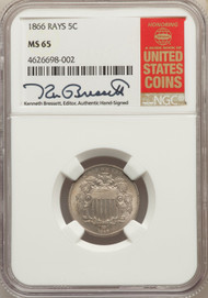 1866 5c Shield Nickel NGC MS65 Rays - 731025020