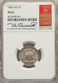 1866 5c Shield Nickel NGC MS65 Rays - 731025021