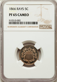 1866 5c Shield Nickel NGC MS65 CAMEO Rays
