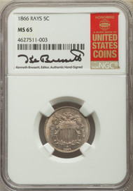 1866 5c Shield Nickel NGC MS65 Rays - 732924001