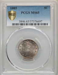 1885 5c Liberty Head Nickel PCGS MS65