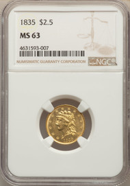 1835 $2.5 Gold Classic Head NGC MS63