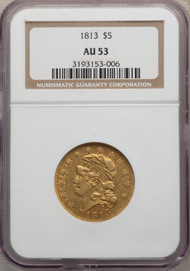 1813 $5 Gold Capped Head NGC AU53