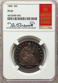 1886 50c Seated Liberty Half Dollar NGC PF67