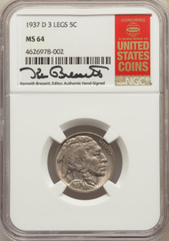 1937-D 5c Buffalo Nickel NGC MS64 3 Legs