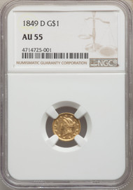 1849-D G$1 Gold Liberty Head NGC AU55