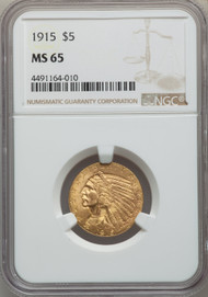 1915 $5 Gold Indian NGC MS65