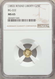 (1853) 25c California Fractional Gold NGC MS65 Round Liberty BG-222