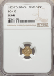 1853 50c California Fractional Gold NGC MS61 Round CAL Arms