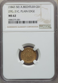 (1842-1850) G$1 Territorial Gold NGC MS62
