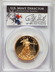 2013-W $25 Proof Gold Eagle PR70DCAM Philip Diehl signed