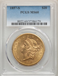 1857-S $20 Gold Liberty PCGS MS60