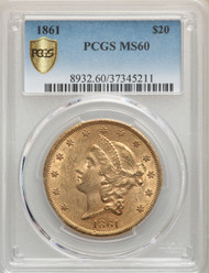 1861 $20 Gold Liberty PCGS MS60 - 739776019