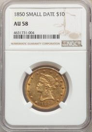 1850 $10 Gold Liberty NGC AU58 Small Date