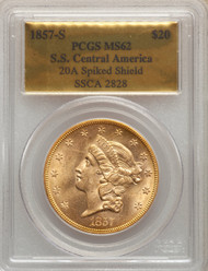 1857-S $20 Gold Liberty PCGS MS62 S.S. Central America