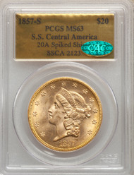 1857-S $20 Gold Liberty PCGS MS63 CAC S.S. Central America