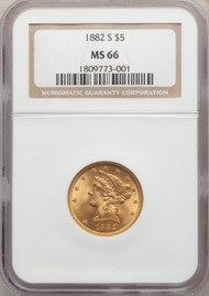 1882-S $5 Gold Liberty NGC MS66