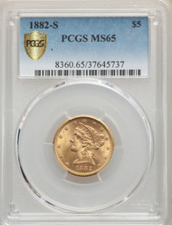 1882-S $5 Gold Liberty PCGS MS65
