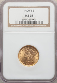 1900 $5 Gold Liberty NGC MS65
