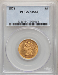 1878 $5 Gold Liberty PCGS MS64