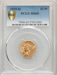 1925-D $2.5 Gold Indian PCGS MS65 - 738579013