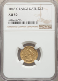 1843-C $2.5 Gold Liberty NGC AU50 Large Date