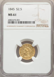 1845 $2.5 Gold Liberty NGC MS61