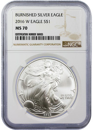 2016-W Burnished Silver Eagle NGC MS70 (Lettered Edge)