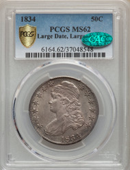 1834 50c Capped Bust Half Dollar PCGS MS62 CAC Large Date