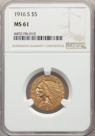 1916-S $5 Gold Indian NGC MS61